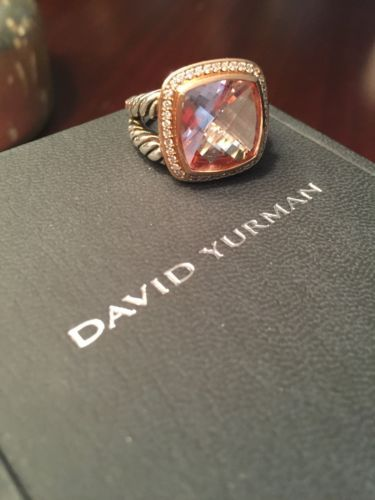 david yurman 925 ss18k rose gold morganite u0026 diamond albion ring