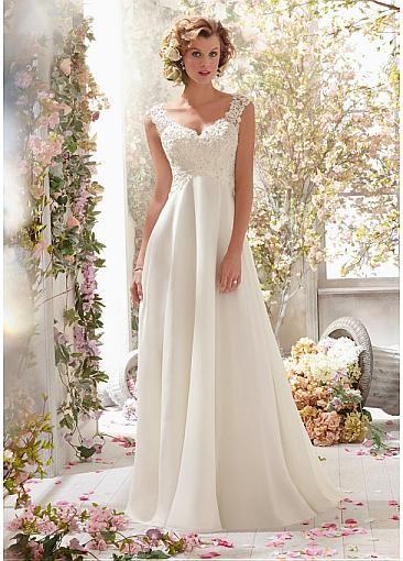 $210 Stunning Tulle & Organza Satin & Chiffon V-neck Raised Waistline A-line Wedding Dress