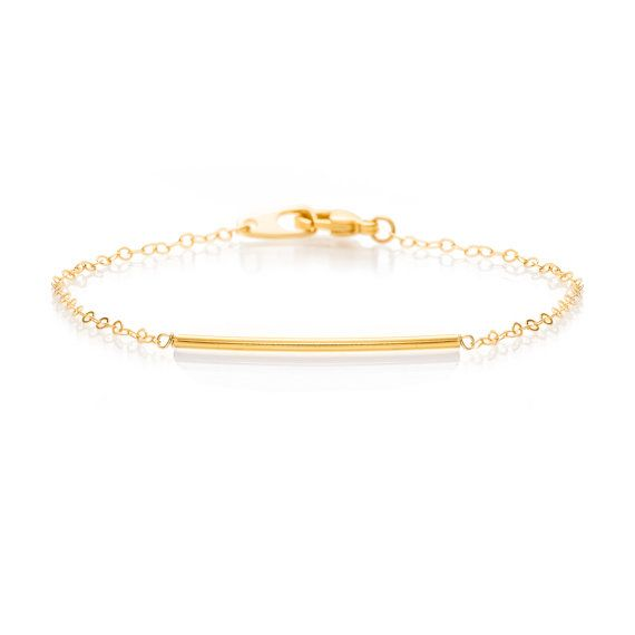 Delicate Gold Bar on a Delicate Gold Chain Bracelet