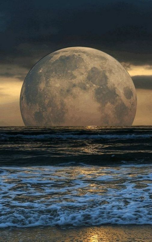 Floating moon over the sea