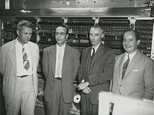 At The Princeton Institute for Advanced Study. Left to right: Julian Bigelow, Herman Goldstine, J. Robert Oppenheimer, and John von Neumann.