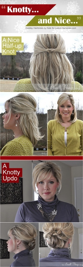Knotty and Nice updo tutorials! this woman has a ridiculous knack for creating flawless dos. Ive tried a few of them, most work ok with my medium length hair, but they never look as good as hers. Gotta try this up-do, though!