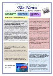 English worksheet: Headlines, news articles (2 pages)