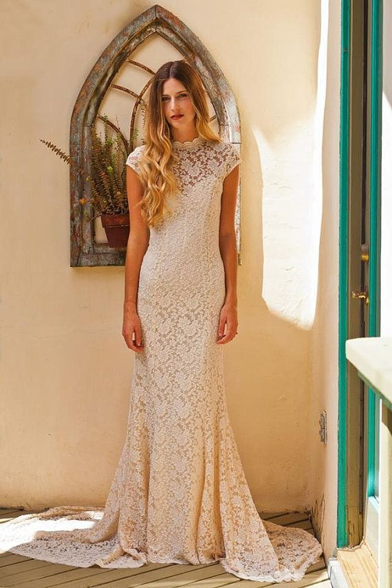 Simple Elegant LACE WEDDING DRESS w/ Cap Sleeve. Sweetheart Low Back Underlay. Stretch Fitted Lace Wedding Gown. Ivory or White