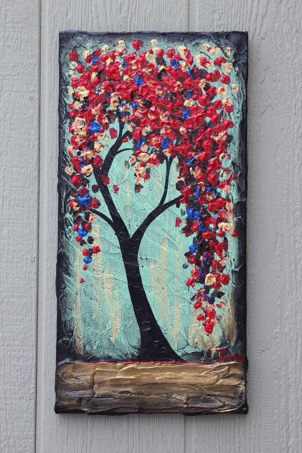 Red Tree original acrylic painting on canvas 10x20. $64.99, via Etsy.