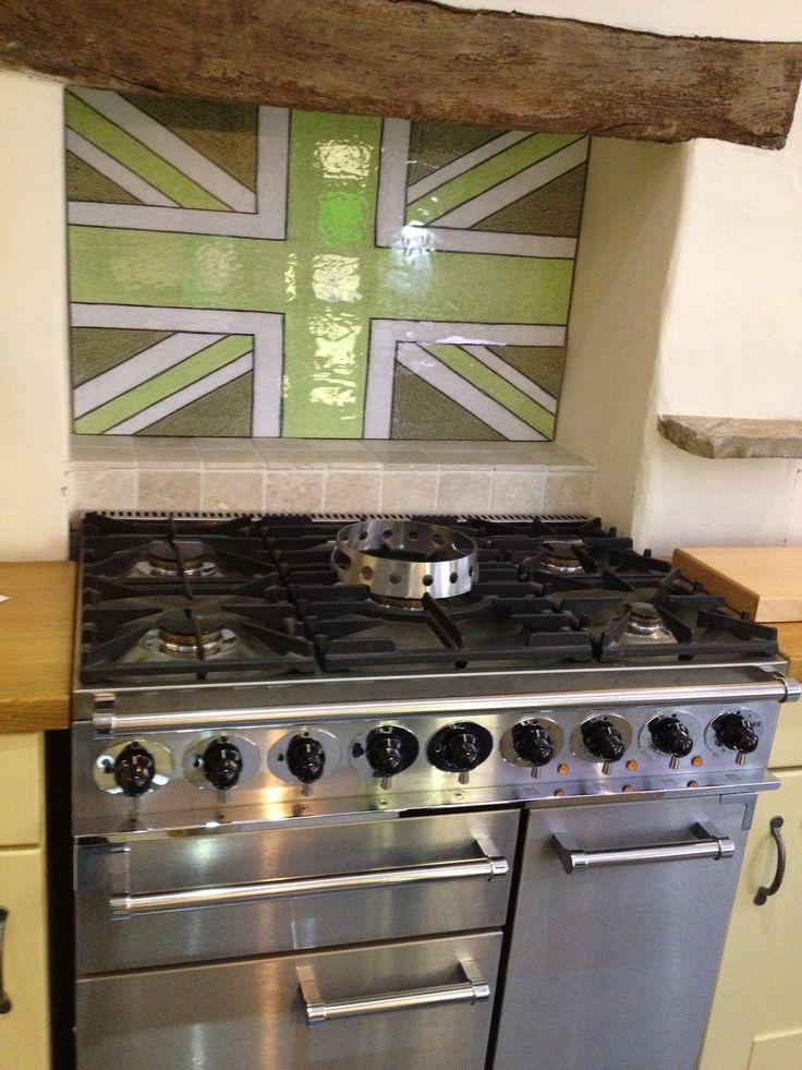A green 'Union Jack' cooker splashback over a British range cooker ... Perfect ! milestone.uk.net