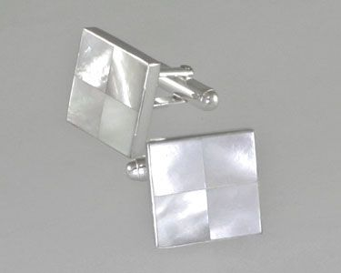 Mother-of-pearl tile inlay cufflinks by Great Falls Metalwork.