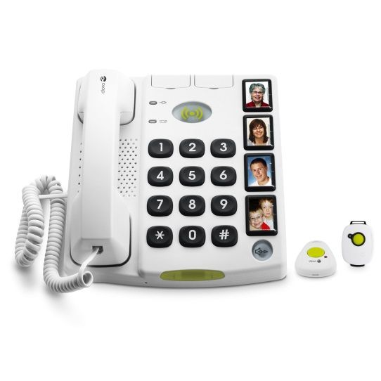 Doro Secure 347 seniorentelefoon met SOS alarm halszender en polsband  De Doro secure 347 is een vaste seniorentelefoon die standaard wordt geleverd met een SOS polsband en een SOS halszender. Met deze SOS polszender en SOS halszender kunt u gemakkelijk ten alle tijden een noodoproep doen naar de door u ingestelde noodnummers (maximaal 4). Wanneer u op de SOS knop van de Doro secure 347 seniorentelefoon drukt wordt er naar de ingestelde nummers een vooraf ingesproken bericht afgespeeld…