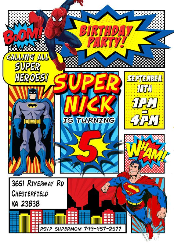 Superhero Invitation Batman Invitation Superman Invitation Spiderman Invitation…                                                                                                                                                                                 Más