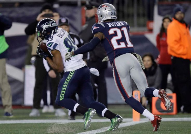 Seahawks vs. Patriots:  31-24, Seahawks  -  November 10, 2016  -    Seattle Seahawks wide receiver Doug Baldwin catches a pass for a touchdown in front of New England Patriots cornerback Malcolm Butler during the first half of an NFL football game, Sunday, Nov. 13, 2016, in Foxborough, Mass.