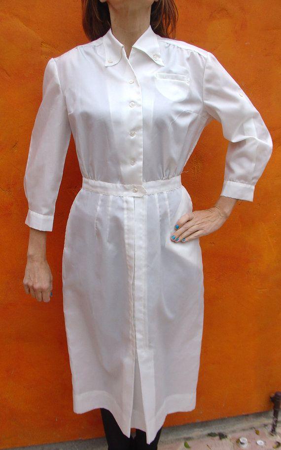 Vintage 60s White NURSES Hospital Uniform by SweetPickinsShop, $48.00