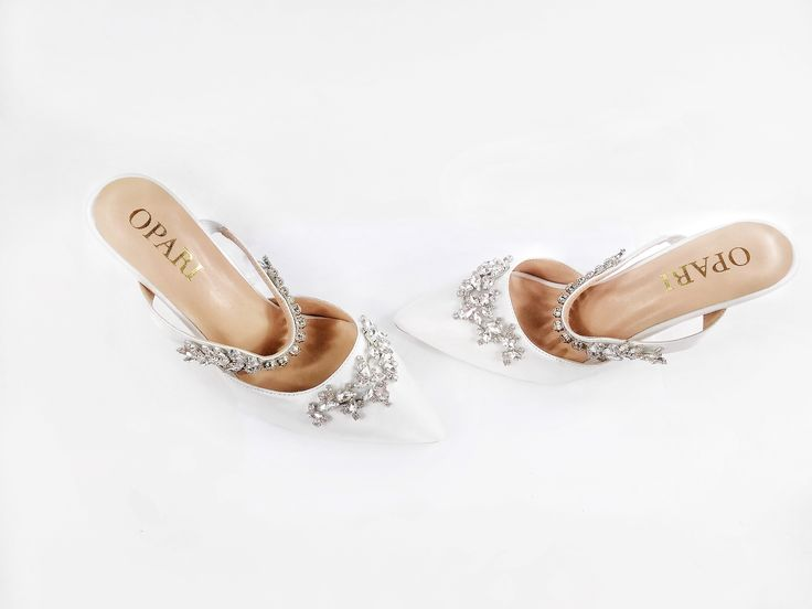 Embellished wedding shoes with strap! #oparishoes #weddingshoes #whiteweddingshoes #strappyshoes