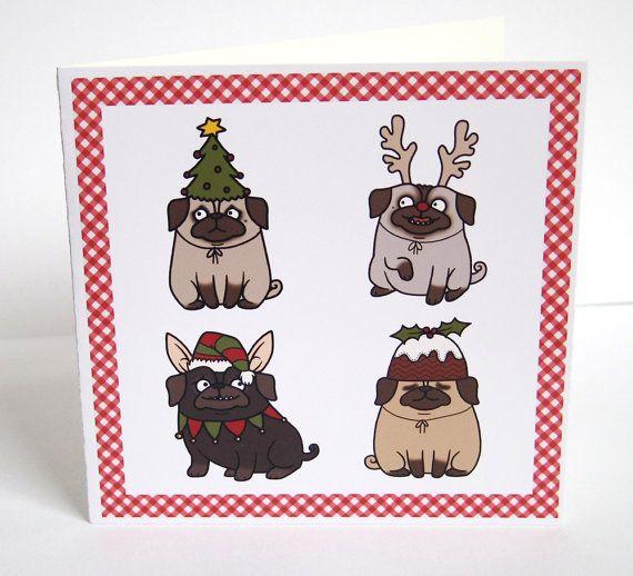 Dressed Up Pugs Christmas Card by Pugsnkissesuk on Etsy