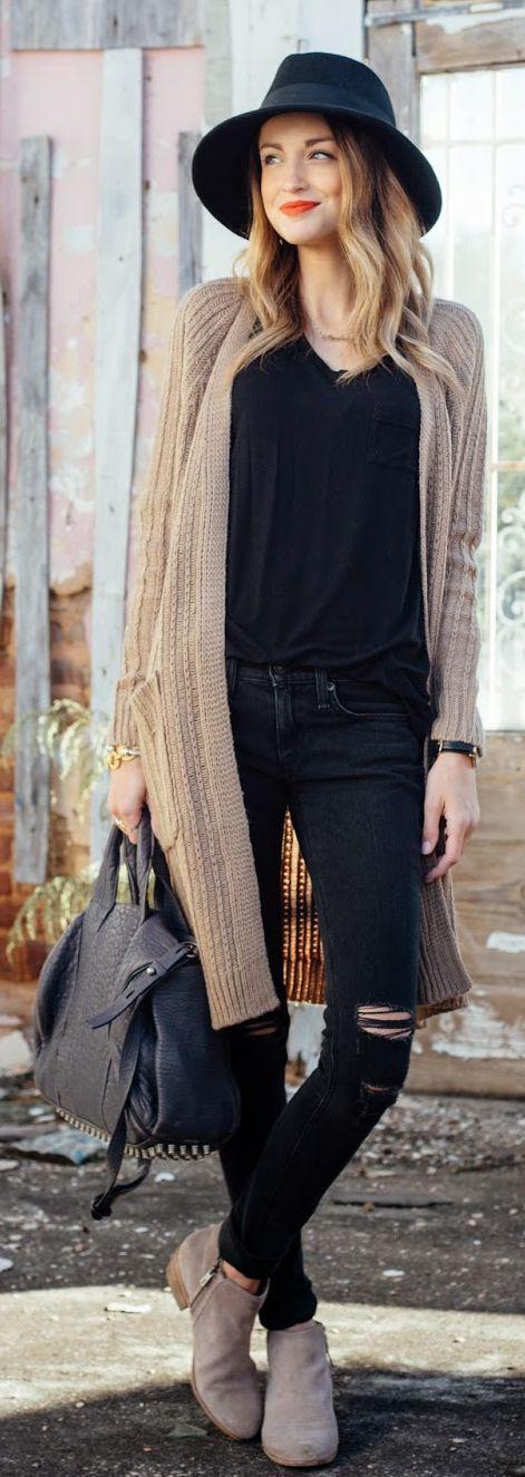 Camel Long Line Cable Knit Cardi