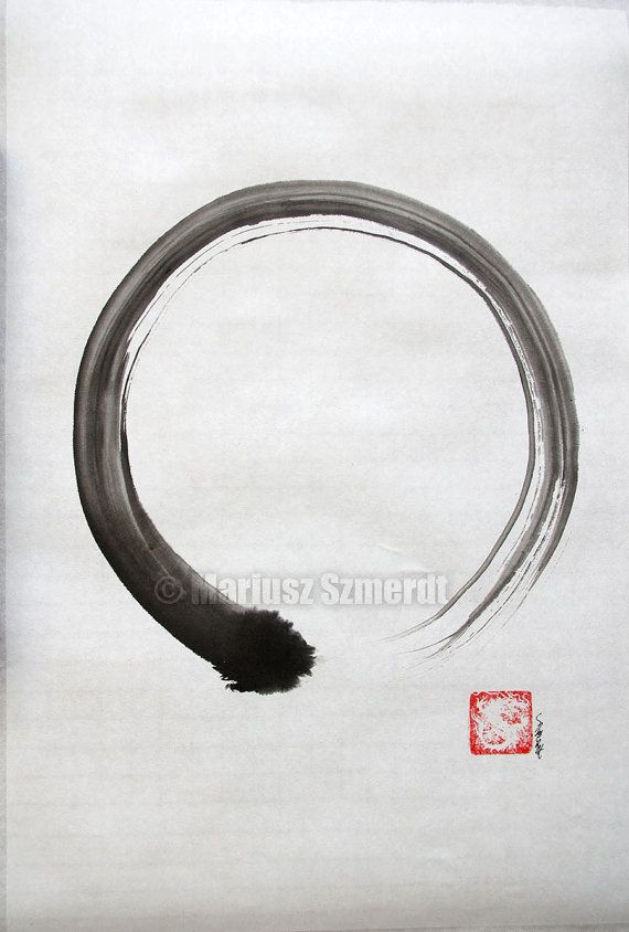 Enso Zen Circle Original Sumi-e Japanese Ink Painting of my brush. Buddhism and Martial Arts related Artwork of hand-drawn in one brushstroke Ensō