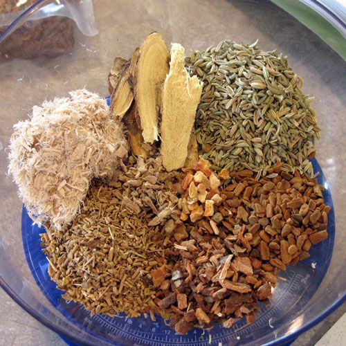 Homemade Cough Syrup   Fennel seed, Licorice root, Slippery Elm, Valerian, Wild Cherry Bark, Cinnamon Bark, Ginger root, Orange peel.  There is also a recipe for a Stronger Tea on this site too!