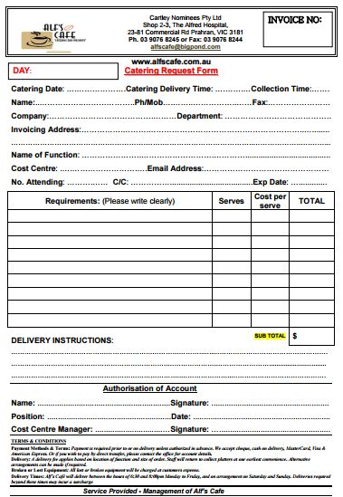 Free Downloadable Catering Contracts Forms  Catering Agreement
