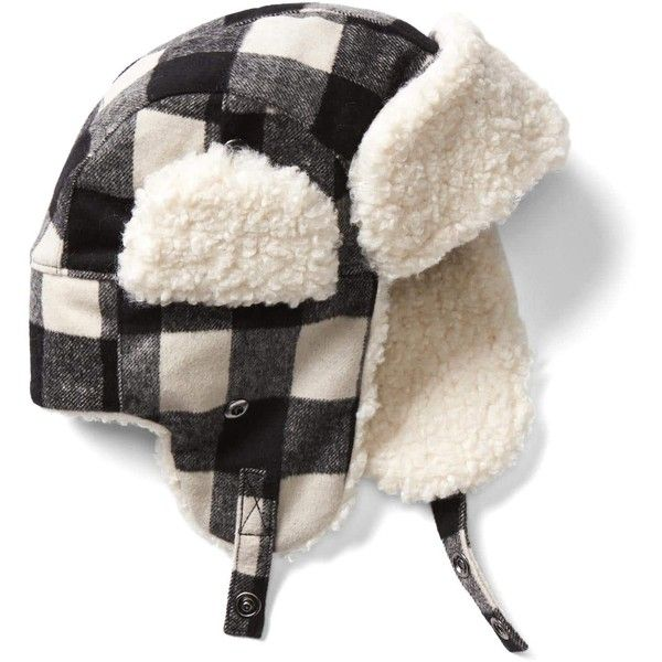 Gap Men Plaid Wool Trapper Hat ($35) ❤ liked on Polyvore featuring men's fashion, men's accessories, men's hats, mens ear flap hats, mens earflap hat, mens wool hats and mens hats
