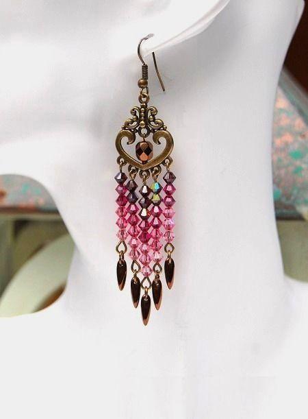"""Boucles d'oreilles roses grenat """"Pivoine""""- Cristal Swarovski chandelier couleur bronze-Collection""""Swarovski"""" : Boucles d'oreille par perles-et-petales"""