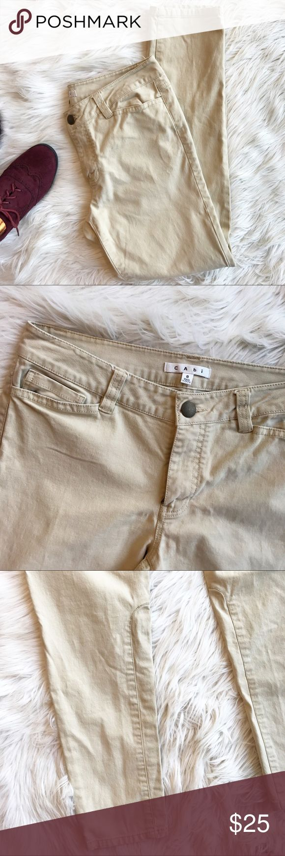 CAbi Khaki Skinny Pants Excellent condition CAbi Khaki Skinny Pants. These add a little edge to a boring office outfit with the detail at the bottom! Size 8. No flaws. Measurements to come. CAbi Pants Skinny