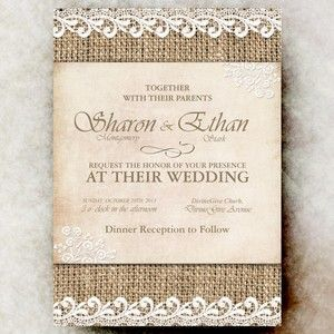 Burlap Wedding Invitation Lace - Cottage Chic Wedding, Country Chic Wedding