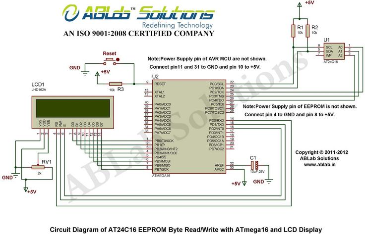 At24c16 Eeprom Page Read Write With Avr Atmega16 Microcontroller And