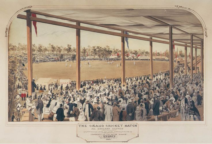 S. T. Gill, The grand cricket match: all England eleven versus twenty-two of New South Wales, contested in the Outer Domain, Sydney, Jan. 29,30,31 & Feb. 1, 1862. Mitchell Library, State Library of New South Wales: http://www.acmssearch.sl.nsw.gov.au/search/itemDetailPaged.cgi?itemID=404828
