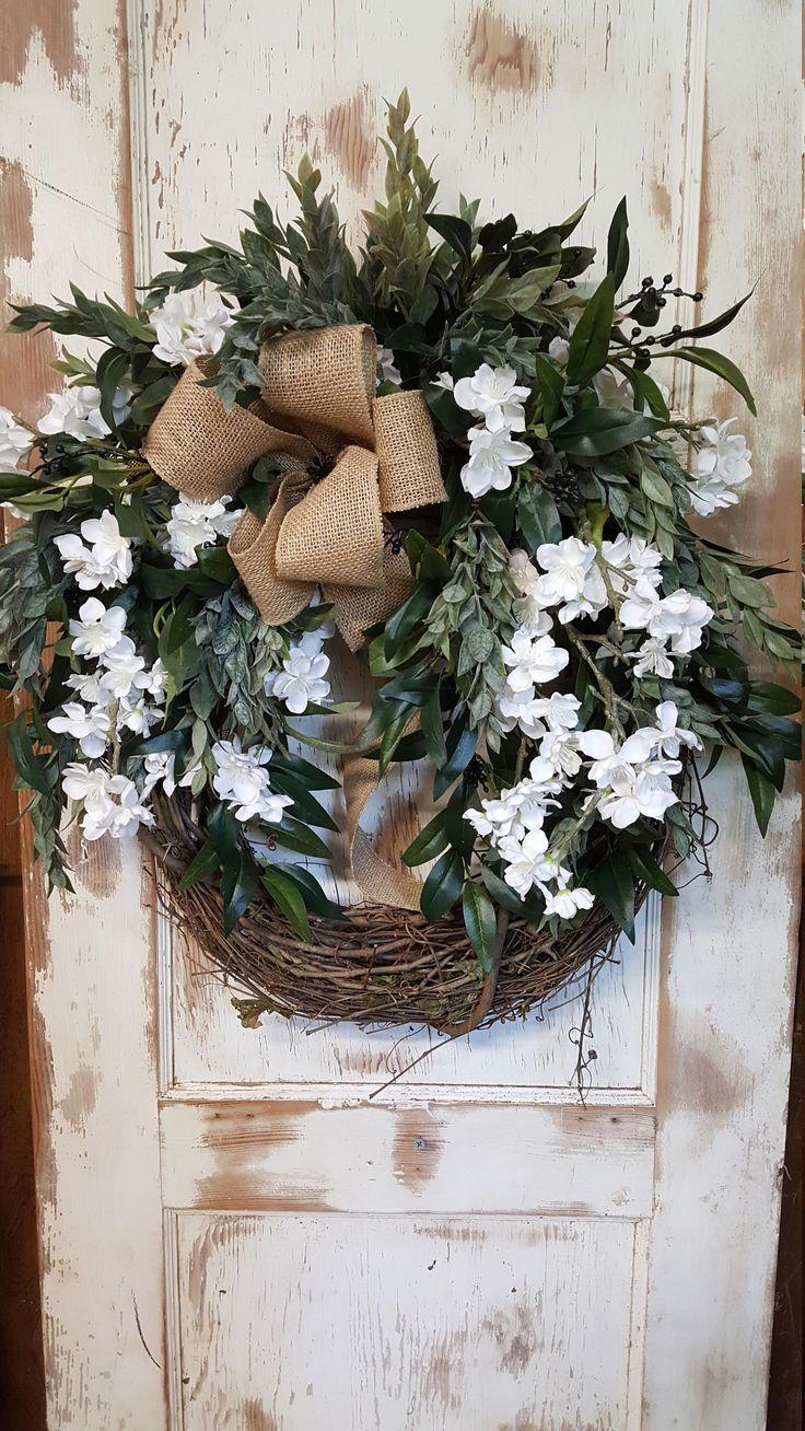 Front Door Wreath, Ready to ship, summer wreath, everyday wreath, Burlap Wreath, Door Wreath, wedding wreath, farmhouse wedding by FarmHouseFloraLs on Etsy