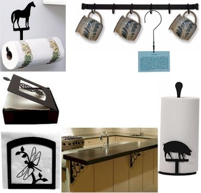 Wrought iron Cup Racks, Paper Towel Holders, Napkin Holders, Recipe Holder for the kitchen.