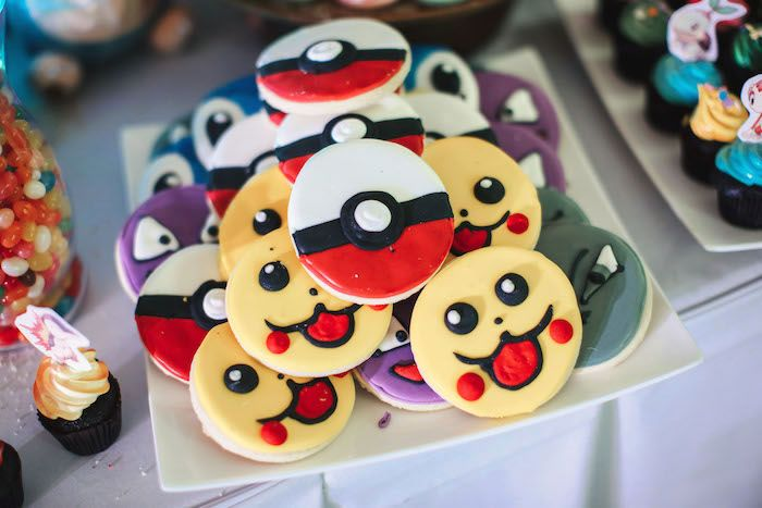 Pokemon cookies from a Pokemon Beach Birthday Party on Kara's Party Ideas | KarasPartyIdeas.com (15)