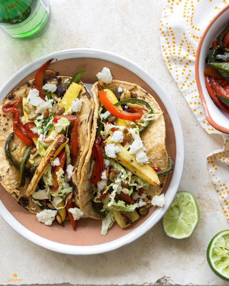 Grilled squash and black bean tacos with cabbage slaw #glutenfree #vegetarian #recipe