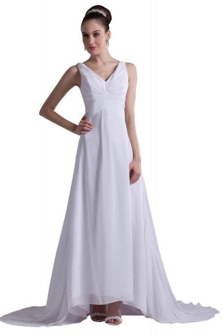 Amazon GEORGE DESIGN Classic Strap V Neck A Line Chiffon Informal Beach Wedding DressesBeach