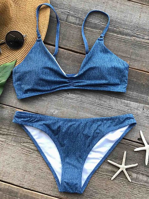 $16.99 Only with free shipping Now! We've been daydreaming of the Twinkling Blue Ink Bikini, and now it's finally here! Look! This blue bikini set is characterized by adjustable strap&high leg cut! So cute&chic at Cupshe.com