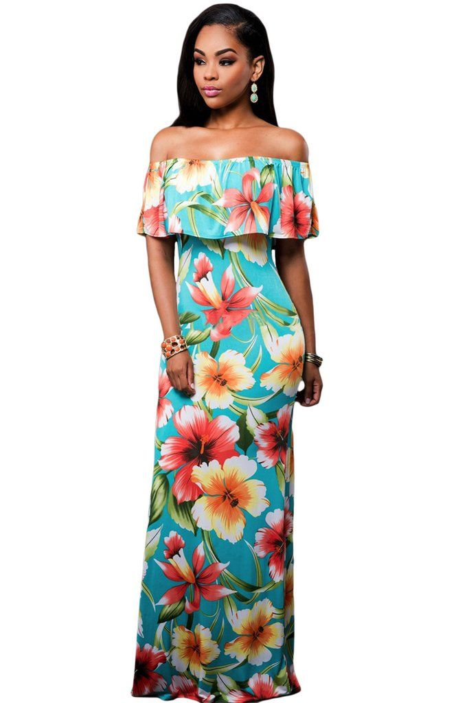 Maxi Robes Turquoise Roses Print Off The Shoulder Robe – Modebuy.com