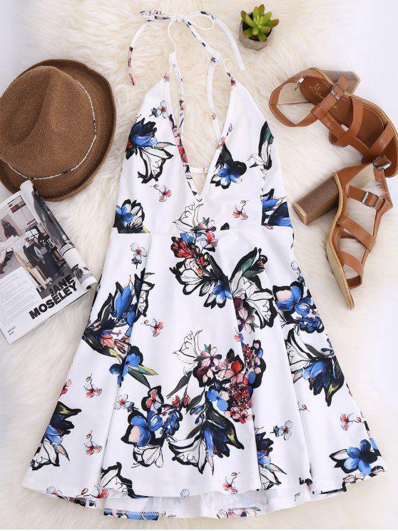 $19.99 Thin Strap Floral Skater Sun Dress - WHITE M