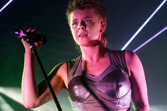 SOUTHWOLD, ENGLAND - JULY 19:  Robyn performs with Royksopp on the BBC Radio 6 Music stage at the Latitude Festival at Henham Park Estate on...