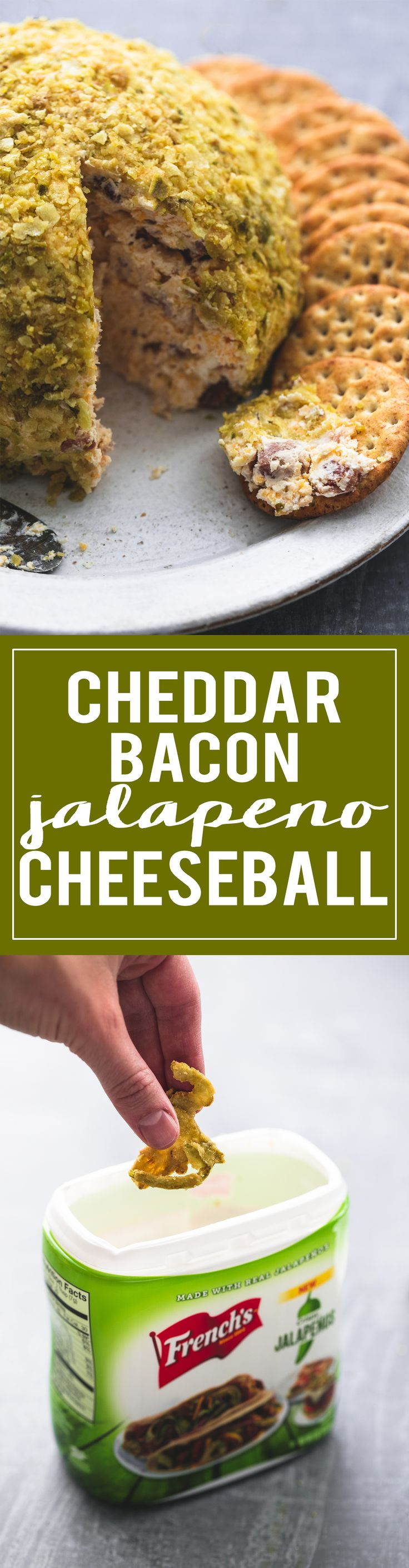 Cheddar Bacon Jalapeño Cheeseball | lecremedelacrumb.com  #ad #frenchs #holidaywithfrenchs @frenchsfoods