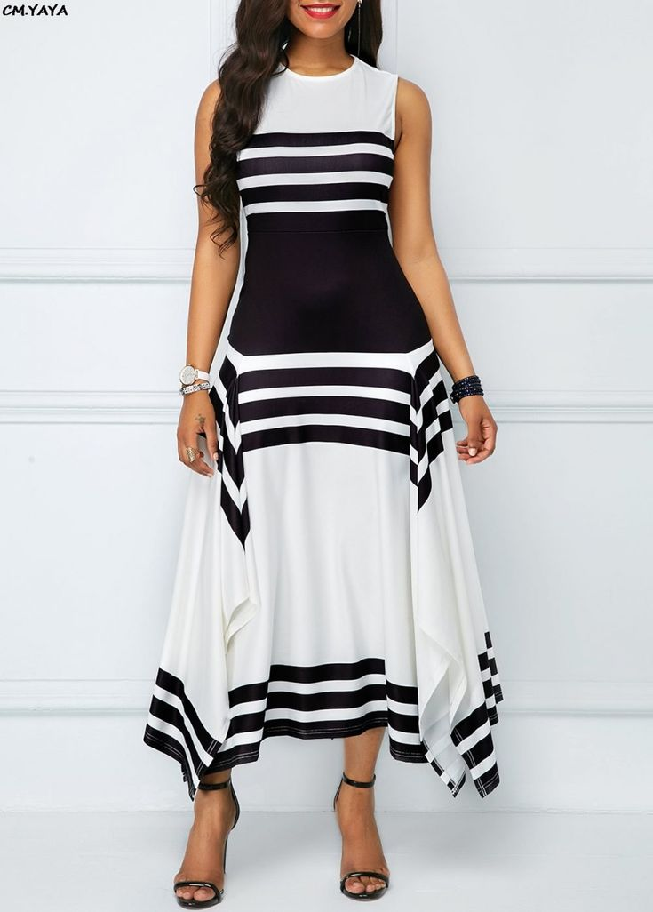 New women sleeve less o-neck black white stripes irregular hem a-line long maxi dress fashion casual vestidos 2 colors GLA6077 8