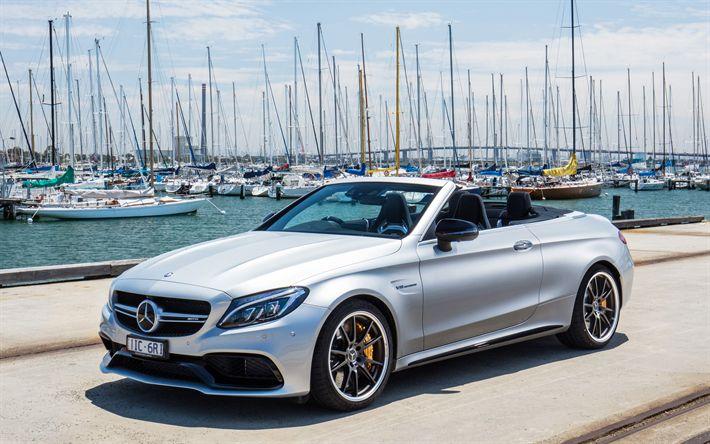 Hämta bilder Mercedes-AMG C63S Cabriolet, 2019, Mercedes-Benz C-Klass, 4k, silver fox, båtar, lyx bil, Mercedes