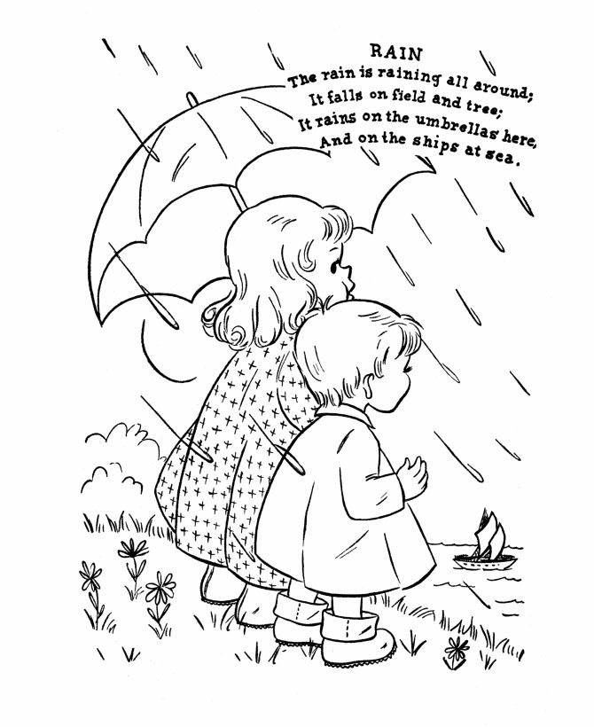 Nursery Rhyme Coloring Pages Pdf : Nursery rhyme coloring page rain books and
