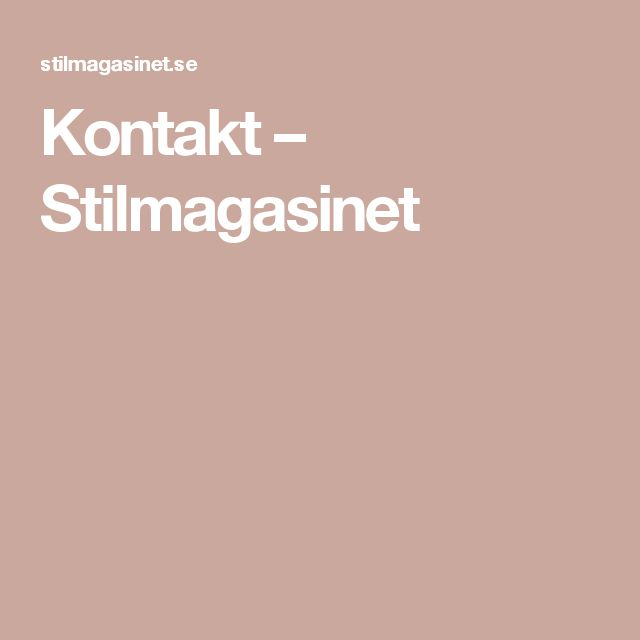 Kontakt – Stilmagasinet