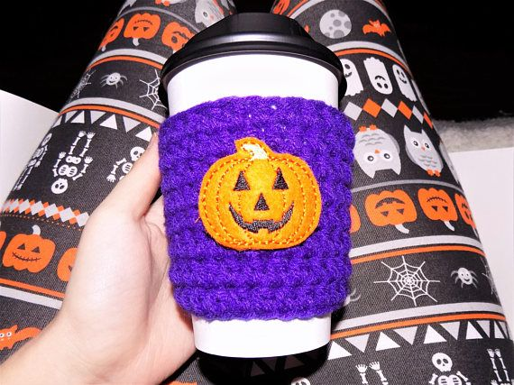 Purple Pumpkin Cup Sleeve Crochet Cup Cozy Coffee Cozy Fall