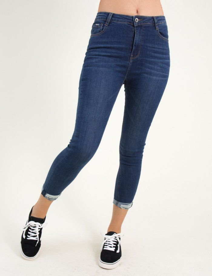 c7d7a4a5239 Γυναικείο μπλε τζιν ψηλόμεσο μονόχρωμο φθορές F2052 #jeans ...