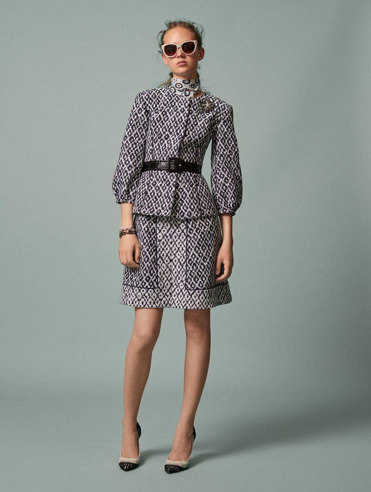 Leopard Diamond Jacquard Balloon-Sleeve Jacket - Jackets & Coats - Ready-to-Wear