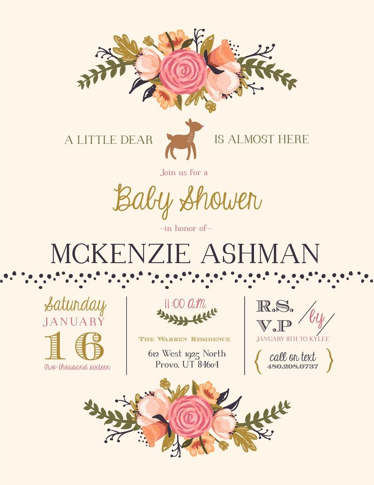 "Cute baby shower invitation with a woodsy theme! We loved the ""little deer"" idea and the use of pales and neutrals. Click for more photos on how this shower turned came together!"