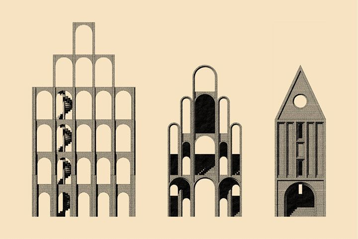 Allmendetore was our proposal for a façade competition in Lübeck: instead of a potemkin front we designed three public structures. Learm more here:  http://www.k-w-y.org/Allmendetore