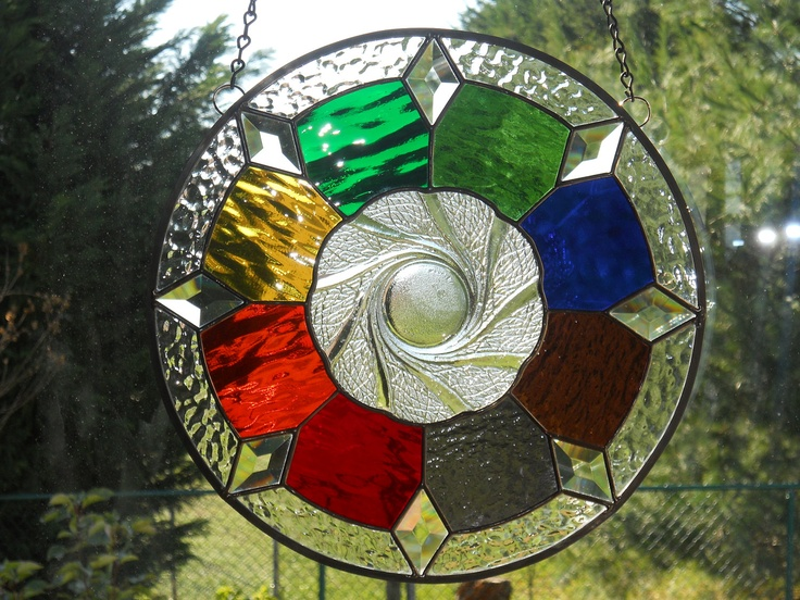 Colorful Contemporary Stained Glass Panel with Plate Center. $55.00, via Etsy.