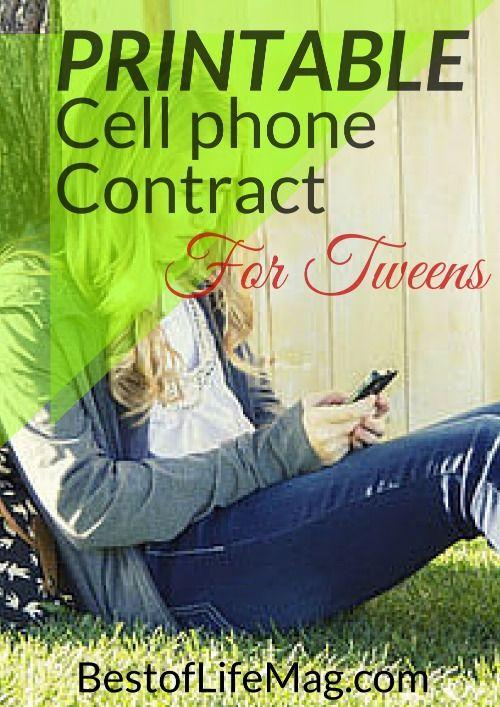 Printable Cell Phone Contract for Tweens #Tweens #Teens #DigitalParenting