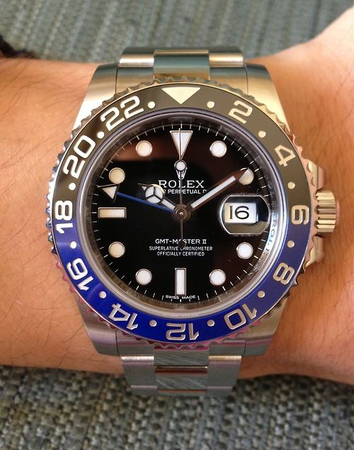 The new Rolex GMT Master II with blue/black Cerachrom bezel. One of my favorite modern Rolexes with a much needed update to the blue/red bezel of years past. This bezel is like night over the ocean. Slick. - JM.