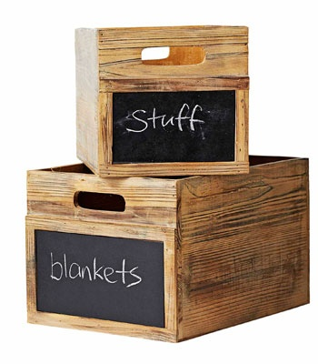 Stash your stuff in these wooden blackboard boxes. These ones are from Provincial Home Living (via realliving).